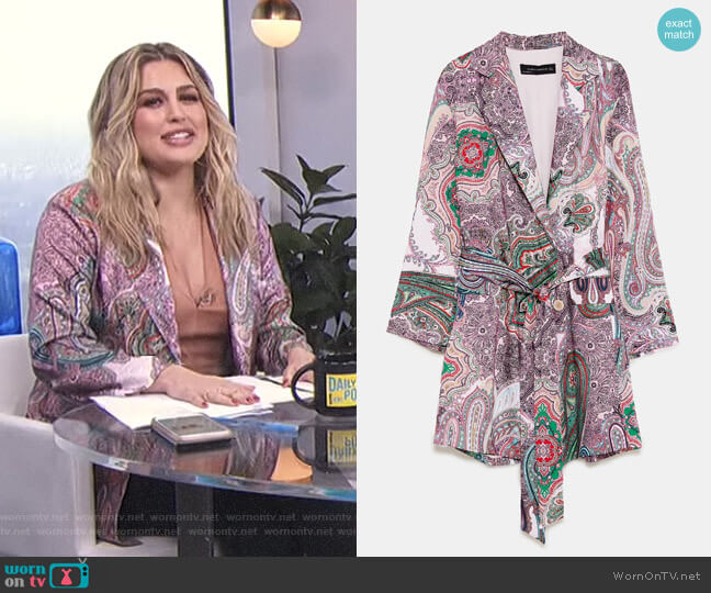 Paisley Print Blazer-Style Dress  worn by Carissa Loethen Culiner on E! News