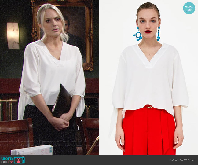 Zara Bow Top worn by Melissa Ordway on The Young & the Restless