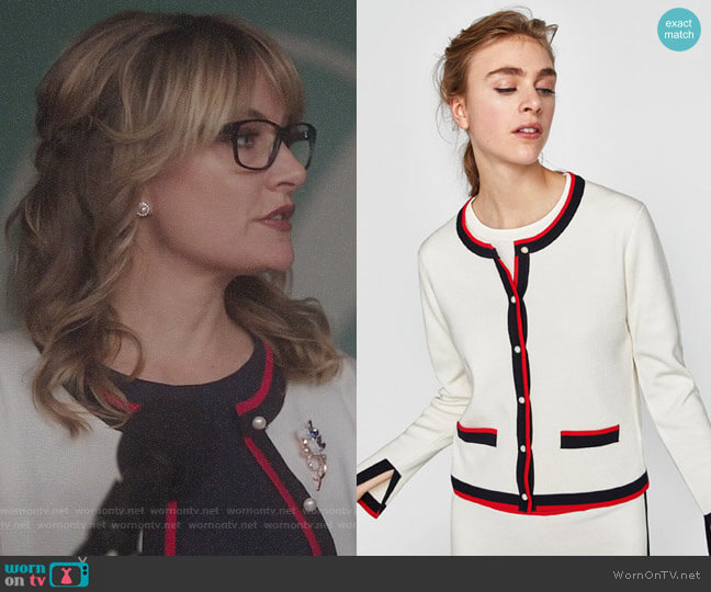 Zara Cardigan with Contrasting Pearl Beads worn by Alice Cooper (Mädchen Amick) on Riverdale