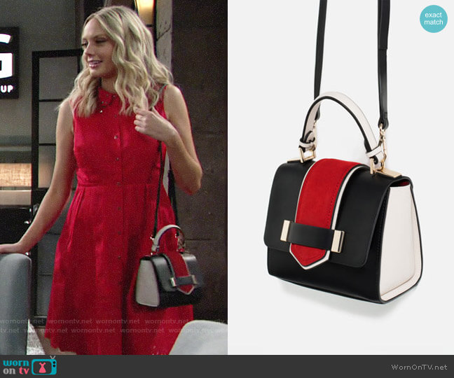 Zara Contrast Mini City Bag worn by Melissa Ordway on The Young & the Restless