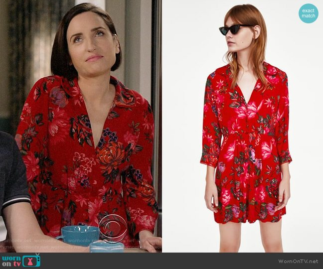 Zara Floral Print Mini Dress worn by Zoe Lister-Jones on Life in Pieces