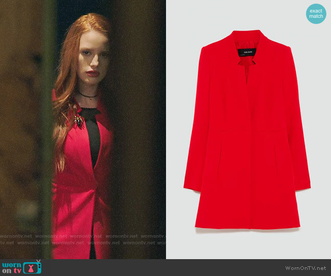Zara Inverted Lapel Frock Coat worn by Cheryl Blossom (Madelaine Petsch) on Riverdale