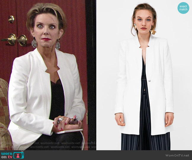 Zara Inverted Lapel Frock Coat worn by Judith Chapman on The Young & the Restless