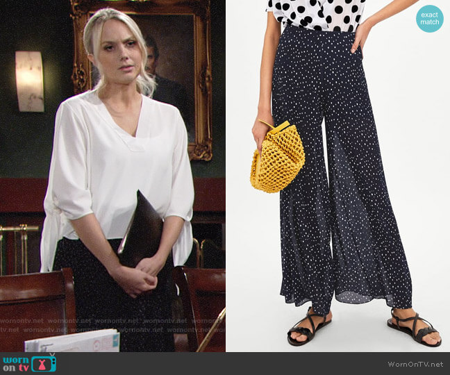 Zara Pleated Polka Dot Pants worn by Melissa Ordway on The Young & the Restless