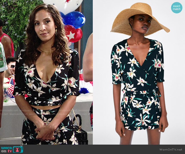 Zara Printed Shirt and Shorts worn by Christel Khalil on The Young & the Restless