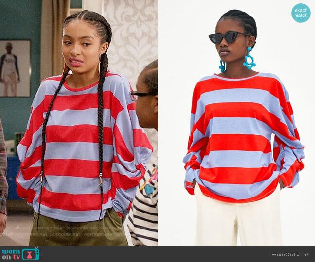 Zara Striped Knotted T-shirt worn by Yara Shahidi on Blackish