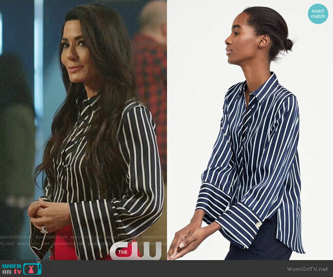 Zara Striped Satin Shirt worn by Marisol Nichols on Riverdale