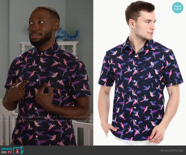 Zobello Short Sleeve Carmine Bird Print Shirt worn by Lamorne Morris on New Girl