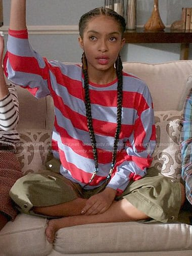 Zoey's striped top and green pants on Black-ish