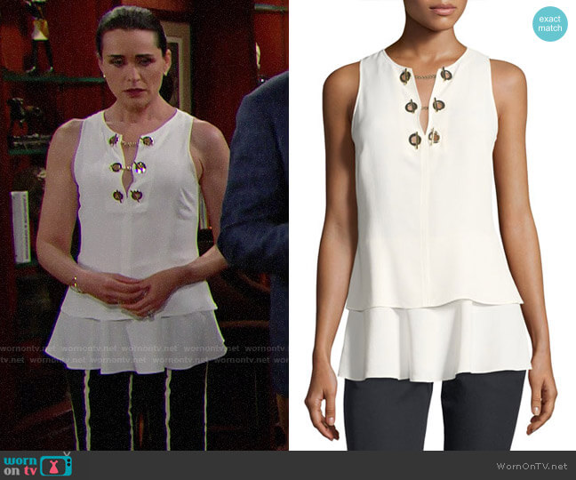 Derek Lam 10 Crosby Silk Top with Grommet Detail worn by Rena Sofer on The Bold & the Beautiful