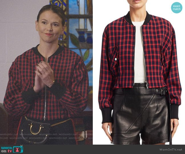 Plaid Bomber Jacket by 3.1 Phillip Lim worn by Sutton Foster on Younger