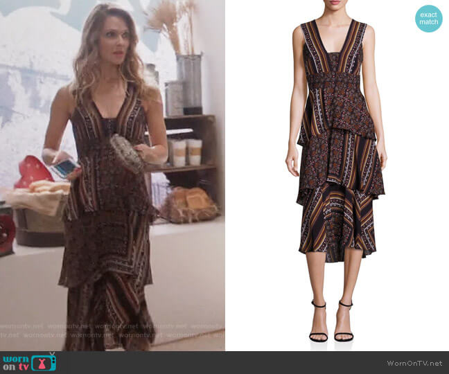 Hayley Scarf-Print Tiered Dress by ALC worn by Beau Garrett on GG2D