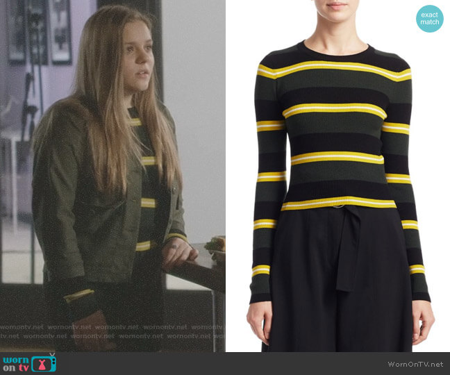 Shea Stripe Crewneck Sweater by ALC worn by Daphne Conrad (Maisy Stella) on Nashville
