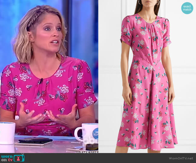 Tuesday floral-print silk crepe de chine dress by Altuzarra worn by Sara Haines on The View
