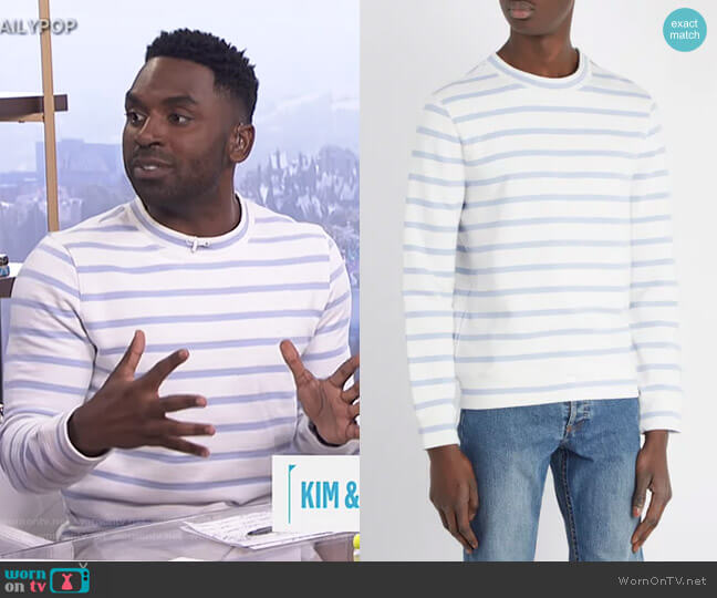 Gianno Tutti-Embroidered Striped Sweatshirt by APC worn by Justin Sylvester on E! News