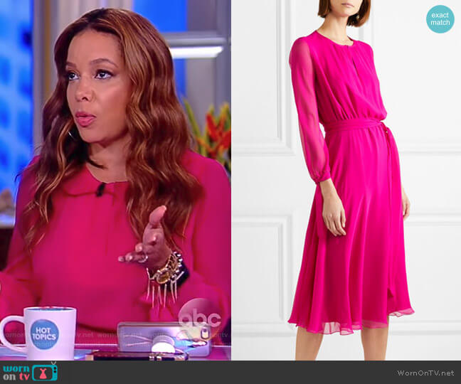 Amanda silk-georgette midi dress by Aross Girl X Soler worn by Sunny Hostin on The View