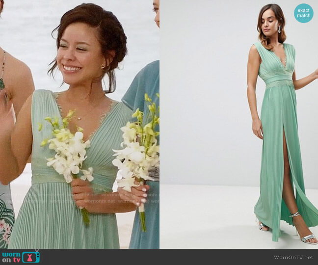 ASOS Premium Lace Insert Pleated Maxi Dress worn by Cierra Ramirez on The Fosters