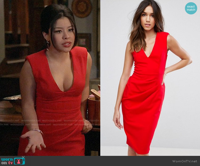 ASOS Sleeveless Midi Dress with Shoulder Pads worn by Mariana Foster (Cierra Ramirez) on The Fosters