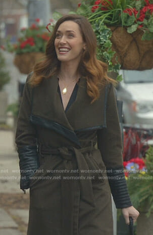 Abigail's khaki leather trimmed wrap coat on Good Witch