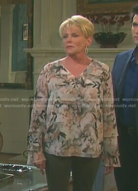 Adrienne's floral tiered sleeve top on Days of our Lives