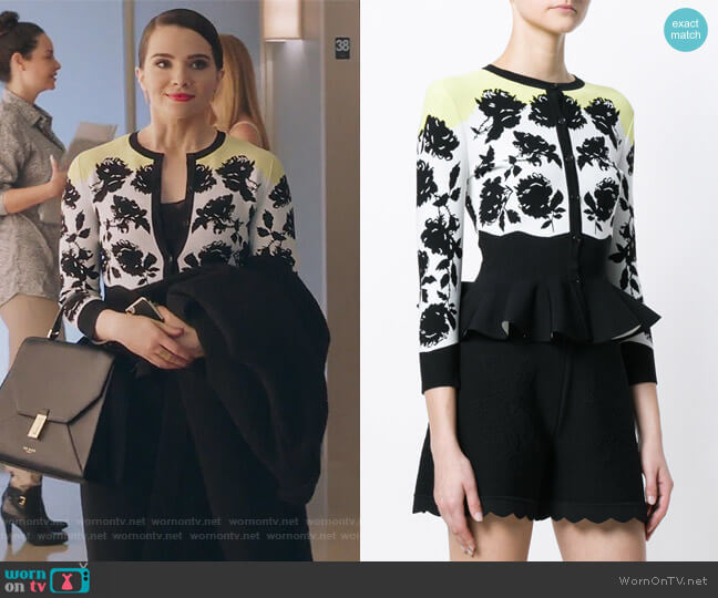 floral print peplum cardigan by Alexander McQueen worn by Jane Sloan (Katie Stevens) on The Bold Type