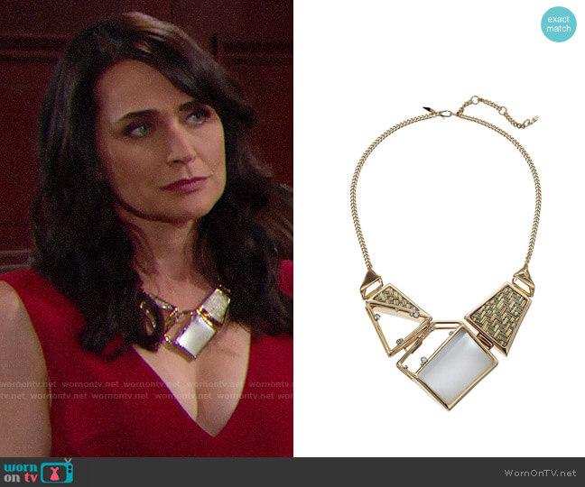 Alexis Bittar Geometric Raffia Bib Necklace worn by Rena Sofer on The Bold & the Beautiful