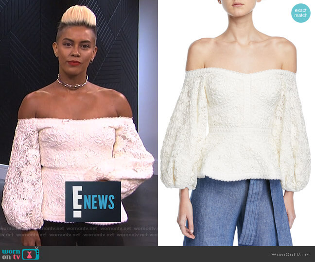 Joscelin Embroidered Puff-Sleeve Top by Alexis worn by Sibley Scoles  on E! News
