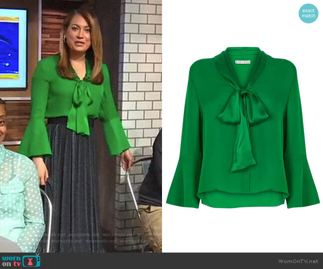 'Merideth' Tie Neck Blouse by Alice + Olivia worn by Ginger Zee  on Good Morning America