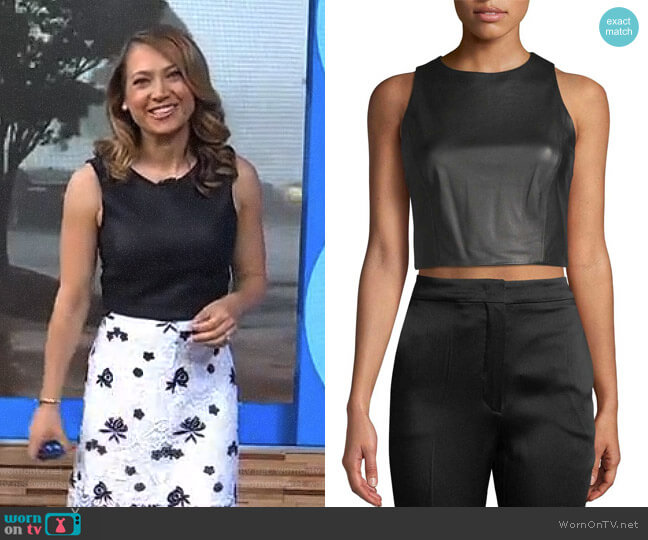 'Lorita' Leather Cropped Top by Alice + Olivia worn by Ginger Zee on Good Morning America