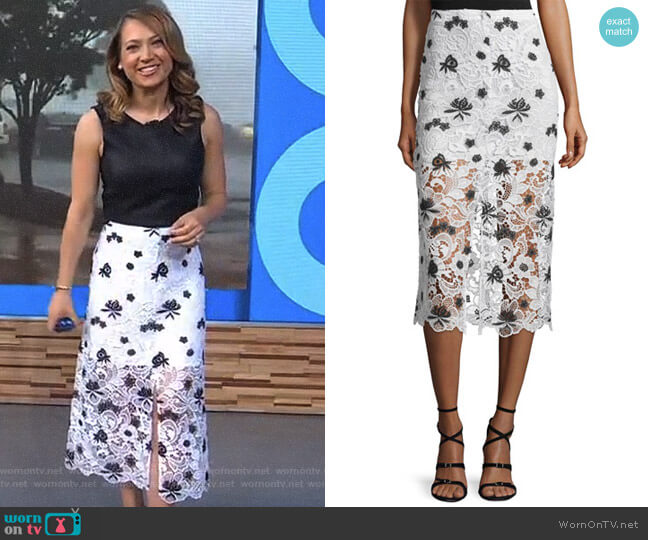 'Ophelia' Lace Midi Skirt by Alice + Olivia worn by Ginger Zee on Good Morning America