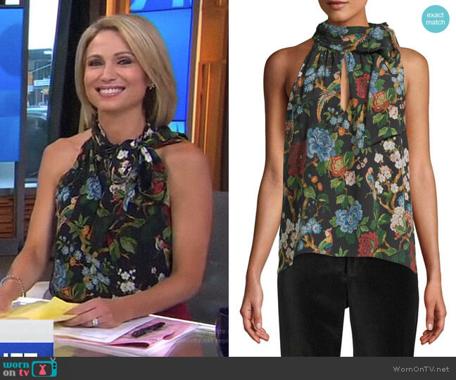 'Sudie' Floral Halter Top by Alice + Olivia worn by Amy Robach on Good Morning America