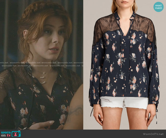 Laya Meadow Silk Top by All Saints worn by Elena Satine on The Gifted