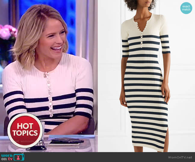 Sunday striped ribbed stretch-knit midi dress by Altuzarra worn by Sara Haines  on The View