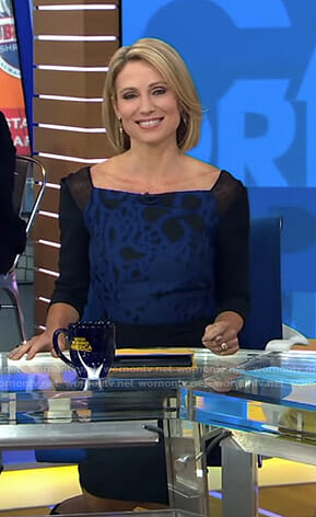 Amy's black floral mesh inset dress on Good Morning America