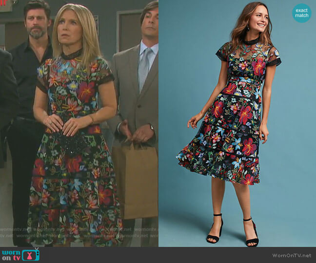 'Janine' Embroidered Dress by Anthropologie worn by Jennifer Horton (Melissa Reeves) on Days of our Lives