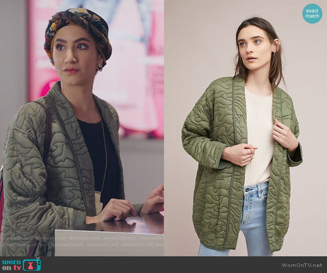 Quilted Kimono Jacket by Anthropologie worn by Adena El-Amin (Nikohl Boosheri) on The Bold Type