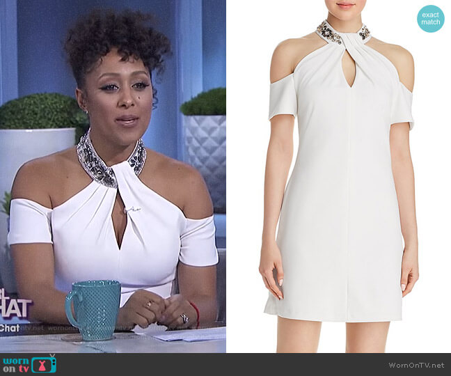 Embellished Cold-Shoulder Dress by Aqua worn by Tamera Mowry  on The Real