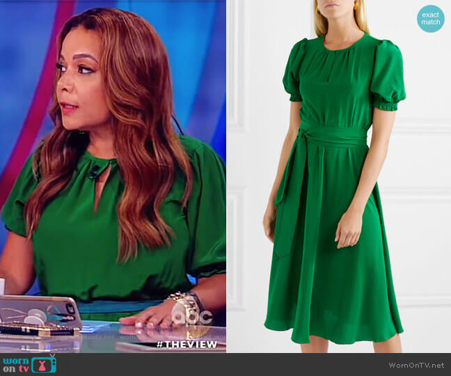 Brooke belted silk crepe de chine midi dress by Aross Girl X Soler worn by Sunny Hostin on The View