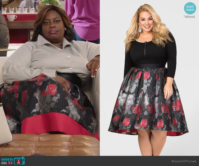 Hi-Lo Winter Floral Skirt by Ashley Stewart worn by Barbara (Retta) on GG2D