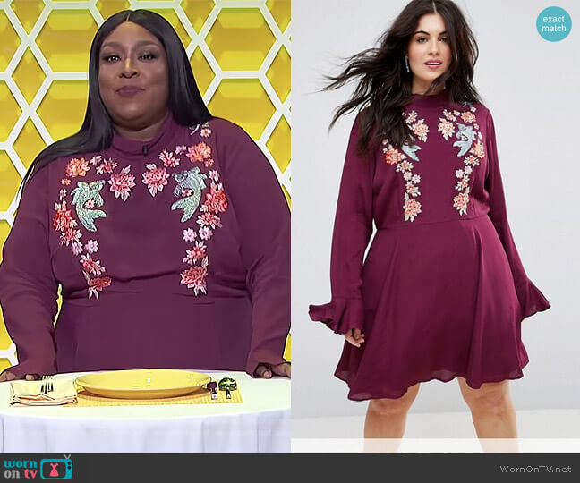 Embroidered Trumpet Sleeve Mini Dress by ASOS worn by Loni Love  on The Real