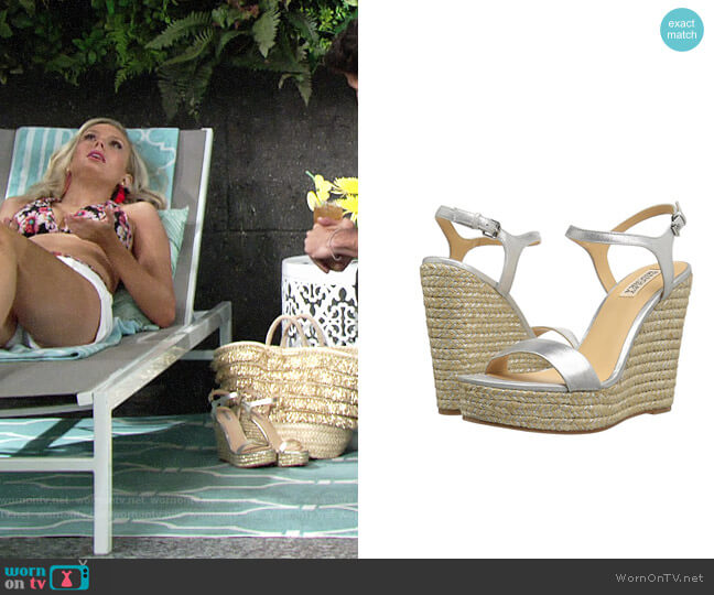Badgley Mischka Bermuda Espadrille Wedge Sandal worn by Melissa Ordway on The Young & the Restless