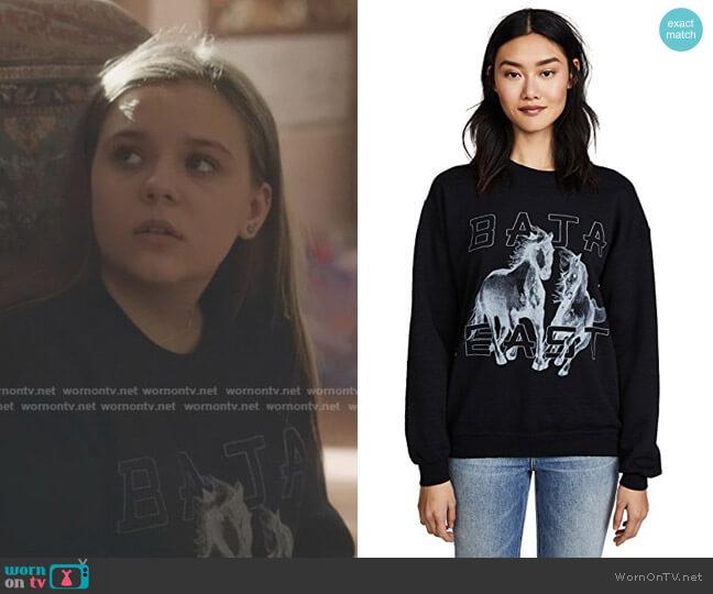 Freedom Crew Sweatshirt by Baja East worn by Maisy Stella on Nashville