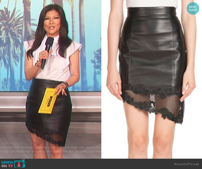 High-Waist Asymmetric Stretch-Leather Skirt by Balmain worn by Julie Chen  on The Talk