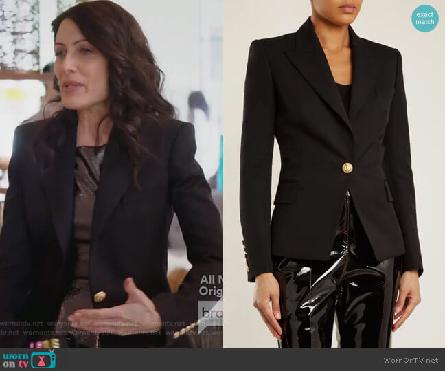 Single-breasted wool blazer by Balmain worn by Abby McCarthy (Lisa Edelstein) on GG2D