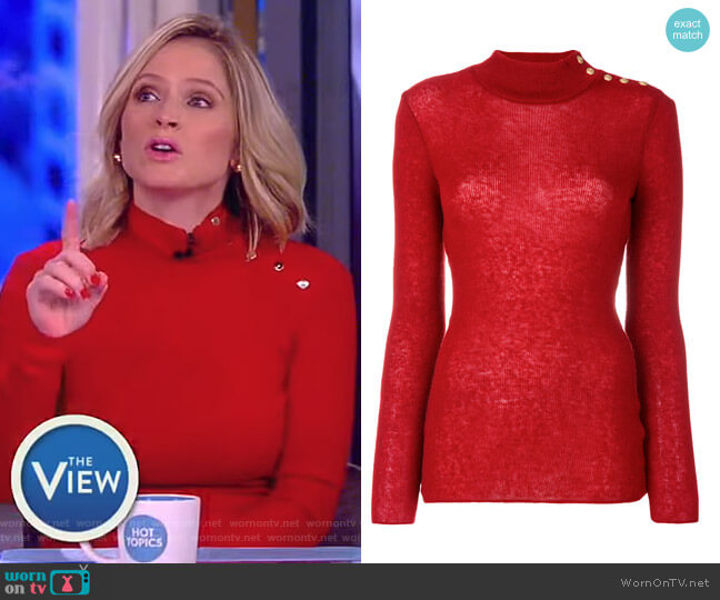 Button-Embellished Turtleneck Jumper by Balmain worn by Sara Haines  on The View