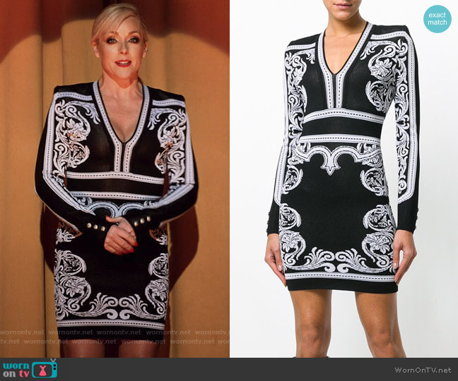 Long-Sleeve Deep-V Fitted Baroque Short Dress by Balmain worn by Jane Krakowski on Unbreakable Kimmy Schmidt