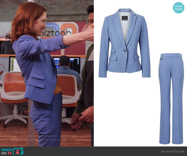 Fitted Crop Lightweight Wool Blazer and Pants  by Banana Republic worn by Ellie Kemper on Unbreakable Kimmy Schmidt