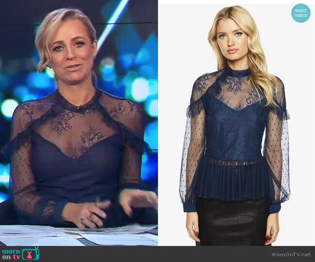 Splice Lace Blouse by Bardot worn by Carrie Bickmore  on The Project