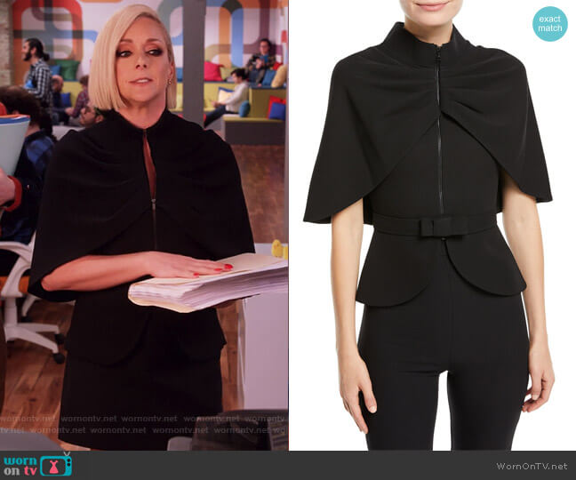 Zip-Front Cape-Sleeve Jacket by Brandon Maxwell worn by Jane Krakowski on Unbreakable Kimmy Schmidt