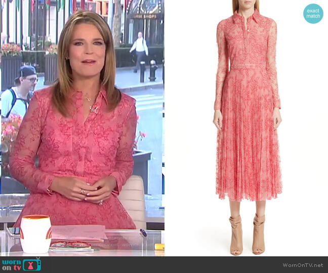 Clementine Floral Lace Midi Dress by Burberry worn by Savannah Guthrie (Savannah Guthrie) on Today